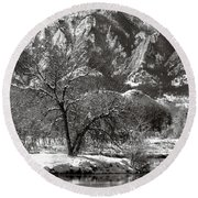 Frosty Flatirons 2 Round Beach Towel