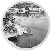 Frosty Flatirons Round Beach Towel