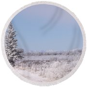 Frosty Landscape Round Beach Towel