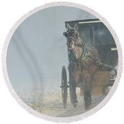 Frosty Morning In Amishland Round Beach Towel