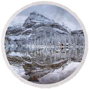 Frosty Morning In Pano Round Beach Towel