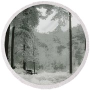 Frosty Paradise Round Beach Towel