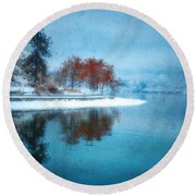 Frosty Reflection Round Beach Towel