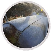 Frosty Tractor Round Beach Towel
