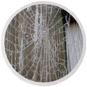 Frosty Web Round Beach Towel