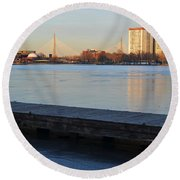 Frozen Dock On The Charles River Round Beach Towel