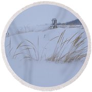 Winter Beach Round Beach Towel