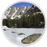 Frozen Colorado  Round Beach Towel