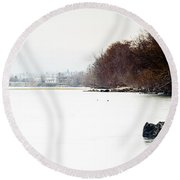 Frozen Columbia Round Beach Towel
