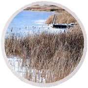 Frozen Dock Round Beach Towel