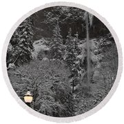 Frozen Dusk Round Beach Towel