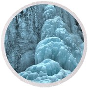 Frozen Falls Along The Icefields Parkway Round Beach Towel