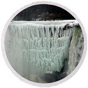 Frozen Falls Round Beach Towel