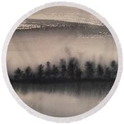 Frozen Fields  Round Beach Towel