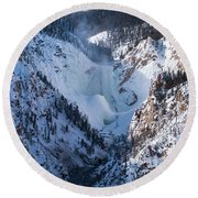 Frozen Lower Falls Round Beach Towel