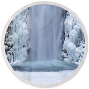 Frozen Multnomah Falls Closeup Round Beach Towel