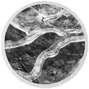 Frozen Puddle Two  Round Beach Towel