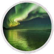 Frozen Reflection Round Beach Towel