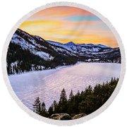 Frozen Reflections At Echo Lake Round Beach Towel