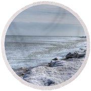 Frozen Sand Round Beach Towel