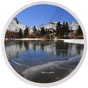 Frozen Sierra Lake Round Beach Towel