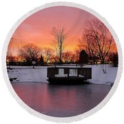 Frozen Sunrise Round Beach Towel