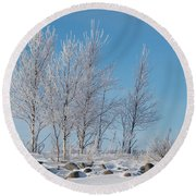 Frozen Views 2 Round Beach Towel