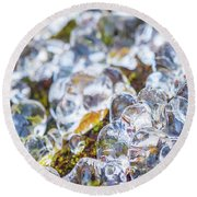 Frozen Water Droplets Round Beach Towel