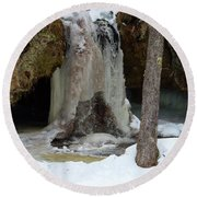 Frozen Waterfall Round Beach Towel