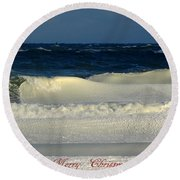 Frozen Waves Christmas Card Round Beach Towel