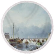 Frozen Winter Scene Round Beach Towel