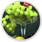 Fruit And Crystal. Round Beach Towel