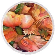 Fruit And Flowers Round Beach Towel
