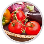 Fruit And Vegetables Round Beach Towel