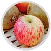 Fruit Basket. Apple. Round Beach Towel