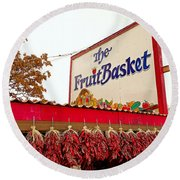Fruit Basket Stand Round Beach Towel