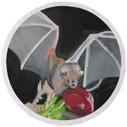 Fruit Bat Round Beach Towel