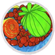 Fruit In A Blue Bowl Round Beach Towel