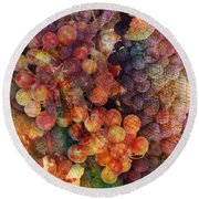 Fruit Of The Vine Round Beach Towel by Barbara Berney