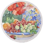 Fruit On A Plate Round Beach Towel
