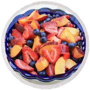 Fruit Salad In Blue Bowl Round Beach Towel