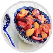 Fruit Salad With Spoon Round Beach Towel