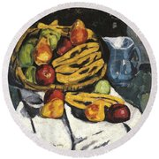 Fruit Still Life By Marsden Hartley Round Beach Towel