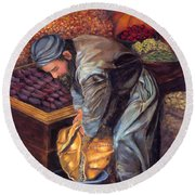 Fruit Vendor Round Beach Towel