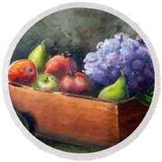 Fruit With Hydrangea Round Beach Towel