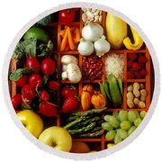 Fruits And Vegetables In Compartments Round Beach Towel by Garry Gay
