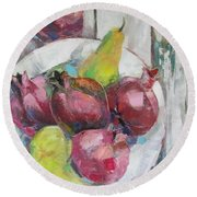 Fruits In Vintage Round Beach Towel