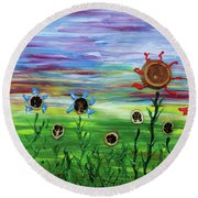 Fruity Flowerfield Round Beach Towel