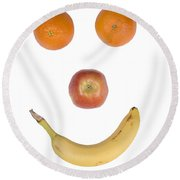 Fruity Happy Face Round Beach Towel