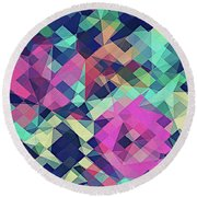 Fruity Rose   Fancy Colorful Abstraction Pattern Design  Green Pink Blue  Round Beach Towel